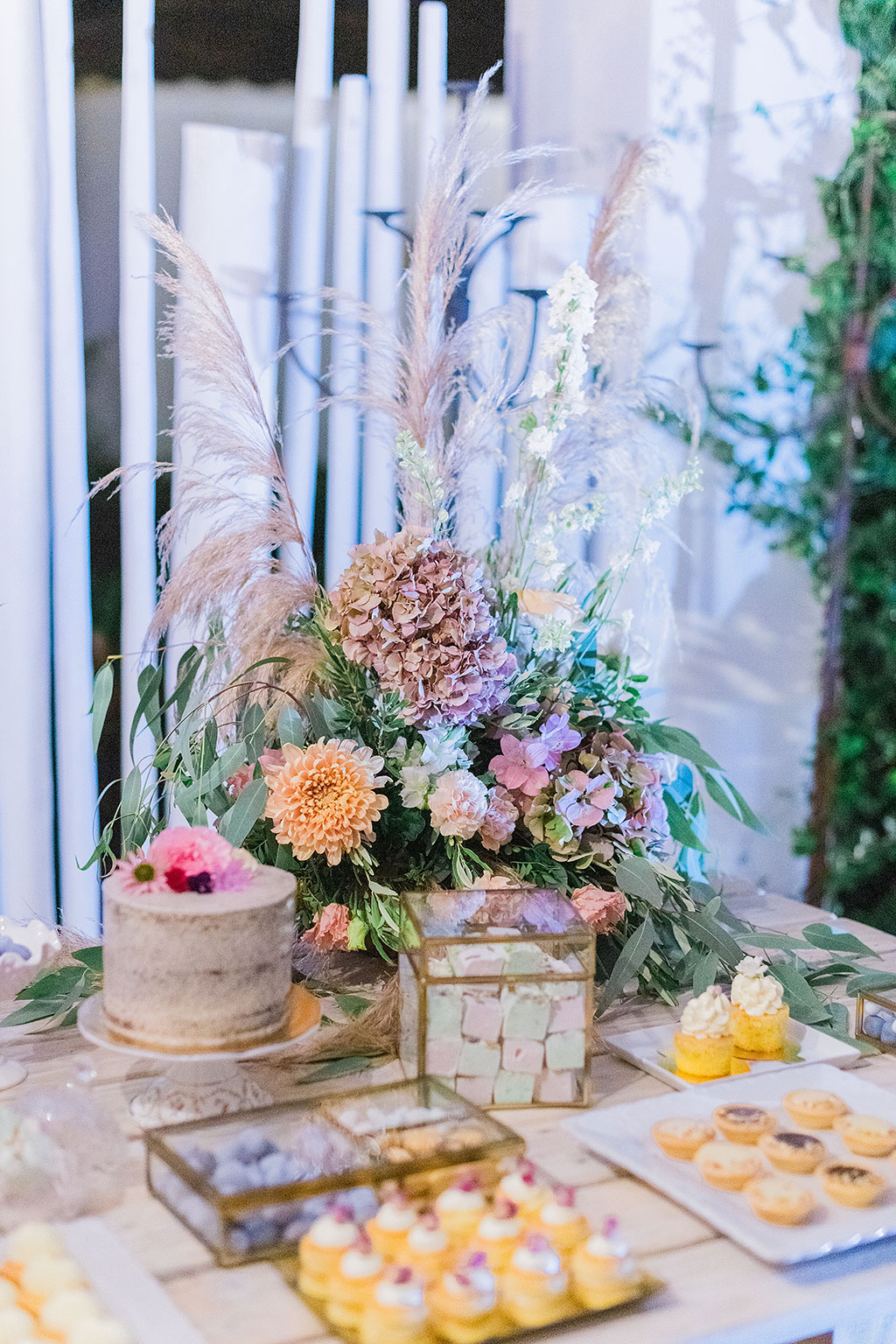 wedding decoration with flowers and sweets